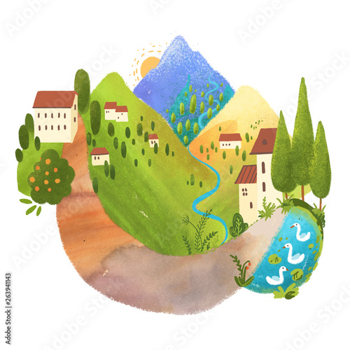 Beautiful digital landscape with mountains, houses and long road.