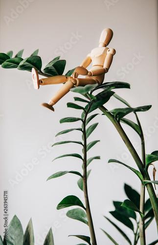 Fotografie, Obraz  Wood Mannequin Sitting on the tree.Self harmony concept