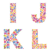 Alphabet Part, Letters I, J, K, L Filled With A Variety Of Colorful Flowers Isolated On White Background Vector Illustration