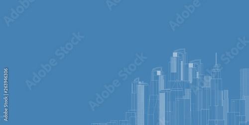 Fototapeta 3D illustration architecture building perspective lines. obraz na płótnie