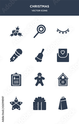 12 Christmas Vector Icons Such As Gift Gift Box
