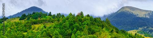 Montage in der Fensternische Himmelblau Beautiful picturesque summer landscape in the Carpathian mountains, Borzhava ridge, in the Transcarpathian region, Ukraine.