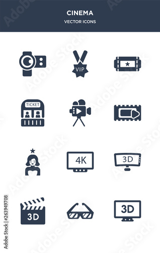12 cinema vector icons such as 3 dimension screen, 3d glasses, 3d