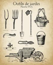 Gravures Anciennes Outils De Jardin Et Horticulture N°1/5
