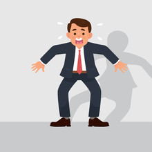 Vector Illustration Male Worker Afraid Of Something. Worker Terrified