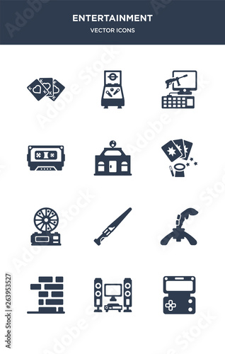Photo  12 entertainment vector icons such as handheld game, home theater, jenga, joysti