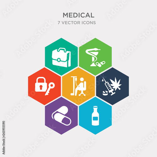 simple set of japanese medicine bottle, remedy, illegal, chair with wheels icons, contains such as icons lock and key, pharmacy cross, medic suitcase and more Tablou Canvas