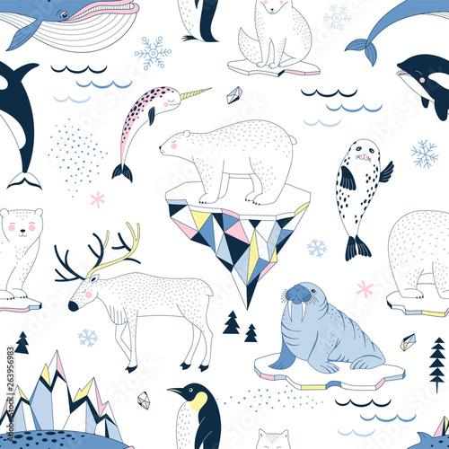 fototapeta na lodówkę Seamless vector pattern with Polar Bear Walrus Penguin Narwal Seal Reindeer Killer Whale Arctic Fox Iceberg Snowflakes North Landscape elements. Arctic Wildlife background. Polar animals print