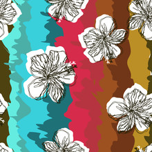 Tropical Flower Pattern On A Bright Rainbow Background. Hibiscus Flowers.