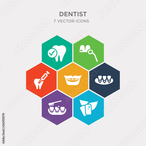 simple set of mint gum, clean tooth, denture, mouth icons, contains such as icons dental needle, dental, healthy tooth and more Canvas-taulu