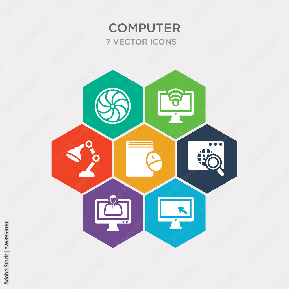 simple set of monitor with mouse cursor, video lecture, surfing the net, book and computer mouse icons, contains such as icons study lamp, wi fi, circular de and more Canvas Print