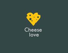 Creative Abstract Yellow Heart Cheese Logo