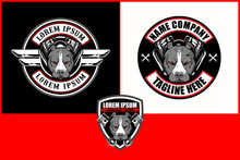 Pitbull Head Cartoon With V-twin Engine Vector Logo Template