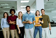 canvas print picture - Portrait of successful creative business team looking at camera and smiling