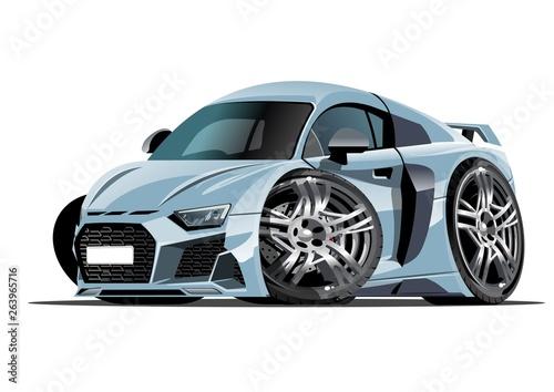 Foto op Aluminium Cartoon cars Cartoon vector car isolated on white background