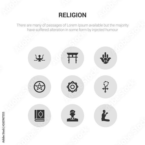 Photo  9 round vector icons such as prayer, priest, quran, rosary, rub el hizb contains satanism, semitic neopaganism, shinto, shiva