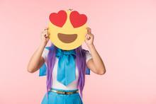 Anime Girl In Purple Wig Holdi...