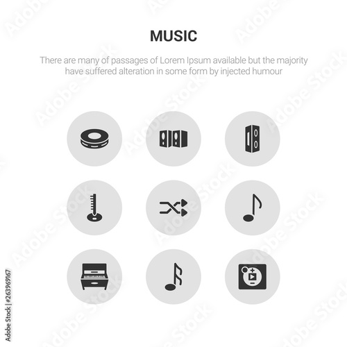 9 round vector icons such as music player, musical note, piano