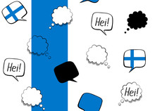 Seamless Background With Finland Flag And Speech Bubbles With Greetings In Finnish. Vector Illustration