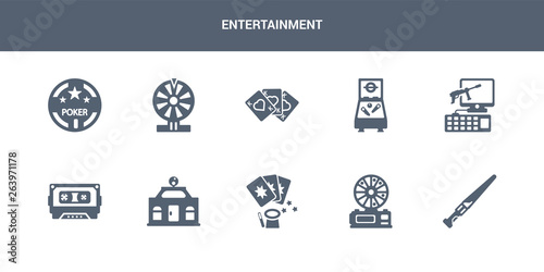 10 entertainment vector icons such as lightsaber, lottery game, magic cards, mall, music tape contains pc game, pinball, playing cards, poker, poker chip Wallpaper Mural