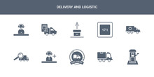 10 Delivery And Logistic Vector Icons Such As Postbox, Shipping, Stamp, Support, Tracking Contains Delivery Truck, Weight Limit, Unpacking, Waybill, Operator. Delivery And Logistic Icons