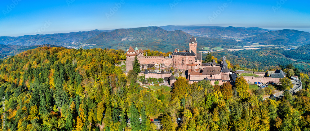 Fototapety, obrazy: Aerial panorama of the Chateau du Haut-Koenigsbourg in the Vosges mountains. Alsace, France