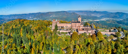 Photo Aerial panorama of the Chateau du Haut-Koenigsbourg in the Vosges mountains