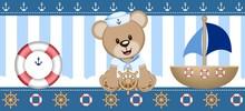 Sailor Bear Digital Clipart Vector