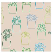 Succulent Plants Seamless Patt...