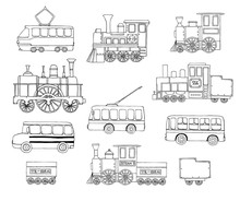 Vector Black And White Set Of Retro Engines And Public Transport. Vector Illustration Of Vintage Trains, Bus, Tram, Trolleybus. Cartoon Style Illustration Of Old Means Of Transport