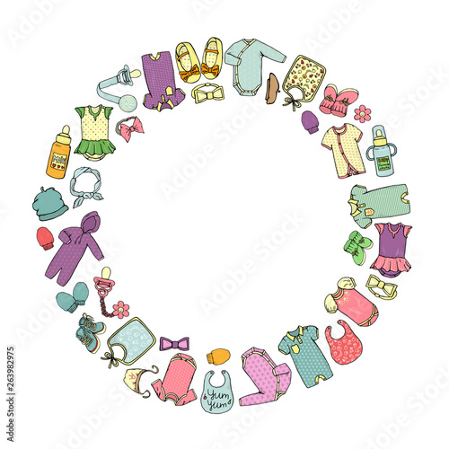 Valokuvatapetti Vector colored illustration of baby clothes and accessories framed in circle