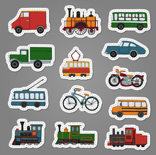Vector Colored Set Of Retro Engines And Transport Stickers. Vector Illustration Of Vintage Trains, Bus, Tram, Trolleybus, Car, Bicycle, Bike, Van, Truck.