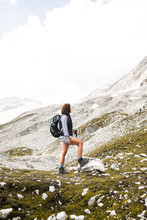 Austria, Tyrol, Woman On A Hiking Trip In The Mountains