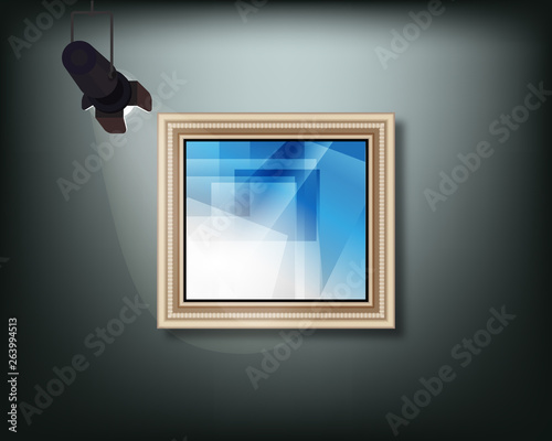 Fotografie, Tablou  Framed image with pedant cone lamp on wall. Vector illustration.