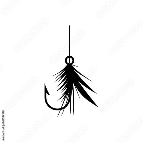 Fotografie, Obraz Graphic fly fishing icon or logo