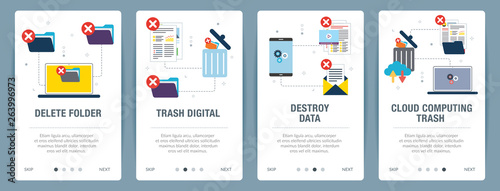 Fotografía Vector set of vertical web banners with delete folder, trash digital, destroy data and cloud computing trash