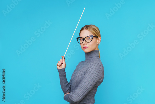 Fotografia Image on side of woman teacher with pointer