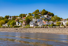 Germany, Hamburg, Blankenese, Residential Houses At The Elbe Shore Seen From The Water