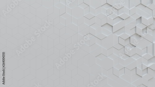 white abstract background with techie hexagons and triangles, 3D rendering, 3d illustration