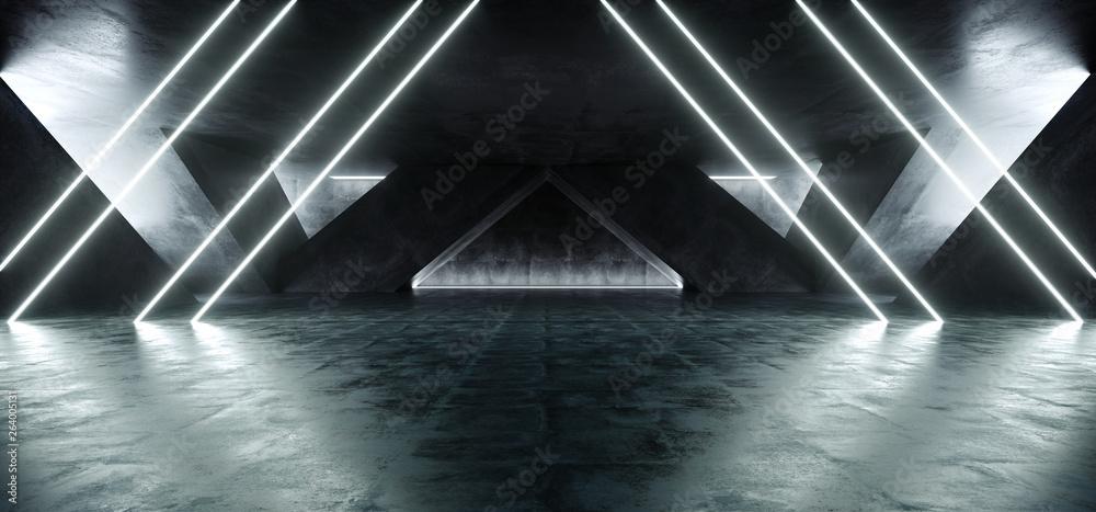 Fototapeta Sci Fi Fluorescent Vibrant Triangle Shaped Neon Glowing Blue White Lights In Huge Dark Cement Concrete  Grunge Underground  Garage Reflections Alien Spaceship Future Arch 3D Rendering - obraz na płótnie