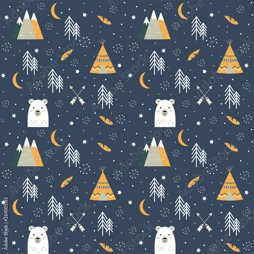 obraz dibond Seamless background with bear, wigwam, arrows, mountains and trees. Vector design. Flat print.