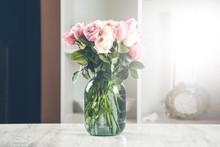 Pink Roses On Jar