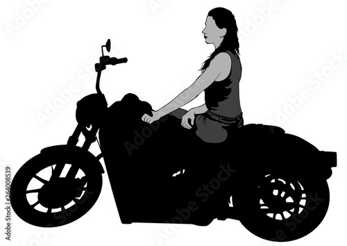 Poster Motocyclette Old bike and beautiful women on white background