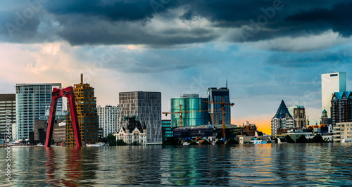 Digital manipulation of flooded Rotterdam, Netherlands downtown skyline