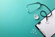 Leinwanddruck Bild - Stethoscope in doctors desk with tablet, pen and pills