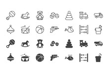 Children Toys Black Silhouettes And Outline Icons Set