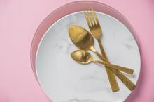 Marble Plate, Gold Knife,fork ...