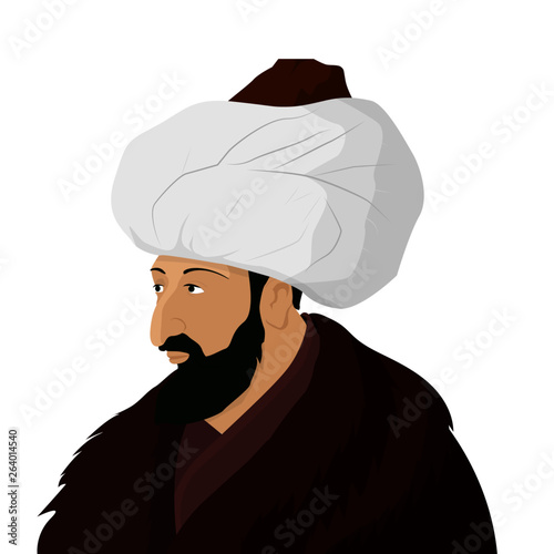 Fotografie, Tablou Vectoral cartoon illustration of Sultan Mehmed the Conqueror