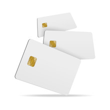 Realistic Detailed 3d Falling Blank Plastic Credit Card. Vector