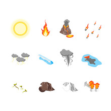 Nature Disaster Concept Icon S...